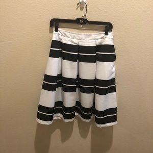 Black & white striped high waist skirt